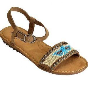Minnetonka Beaded Ankle Strap Sandals Sz 7